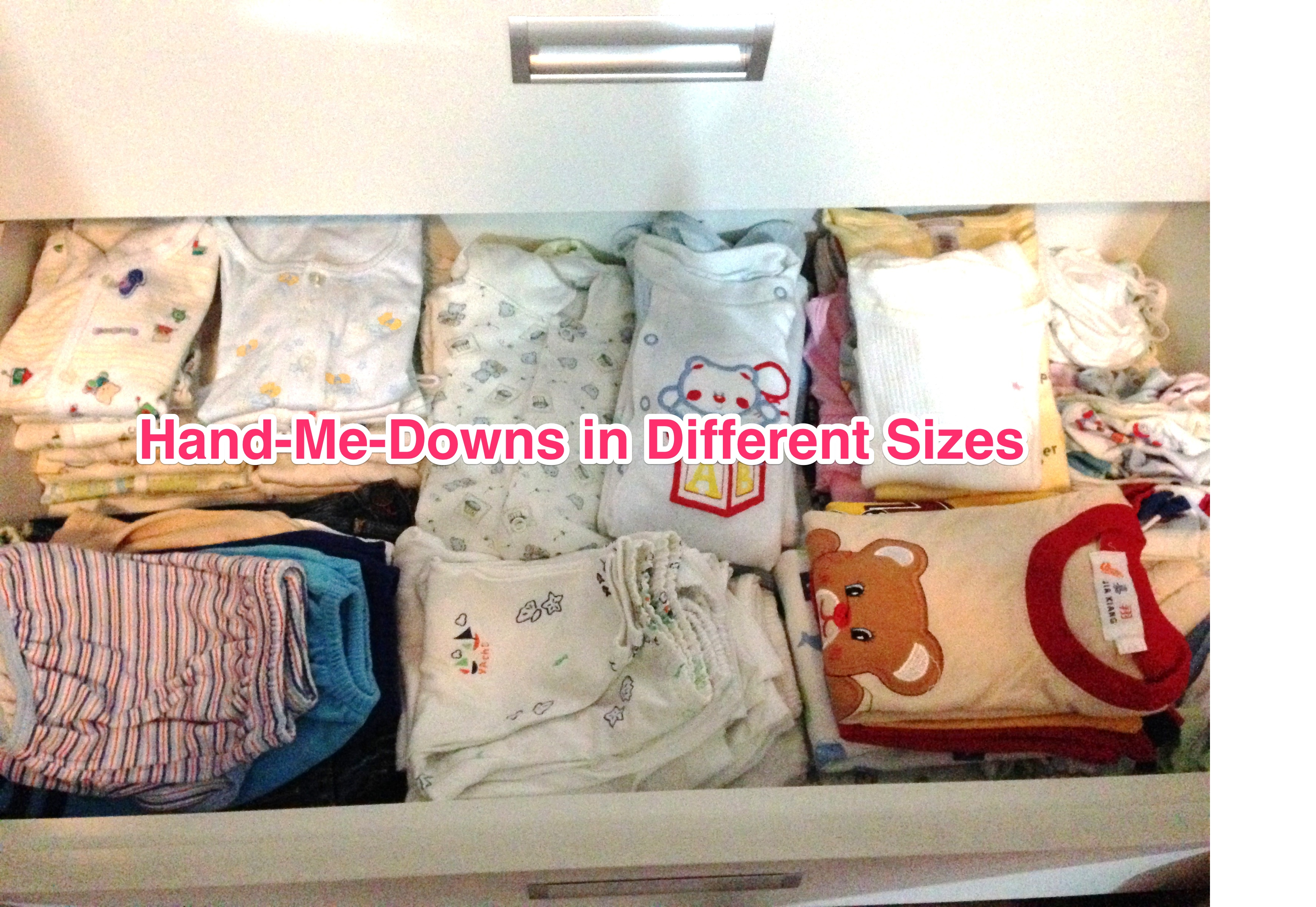 Baby clothes in different sizes