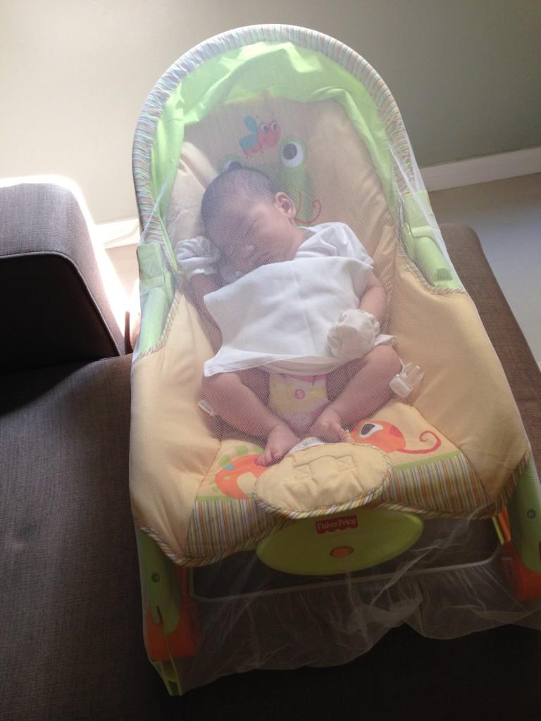 Sleeping Baby On Rocker