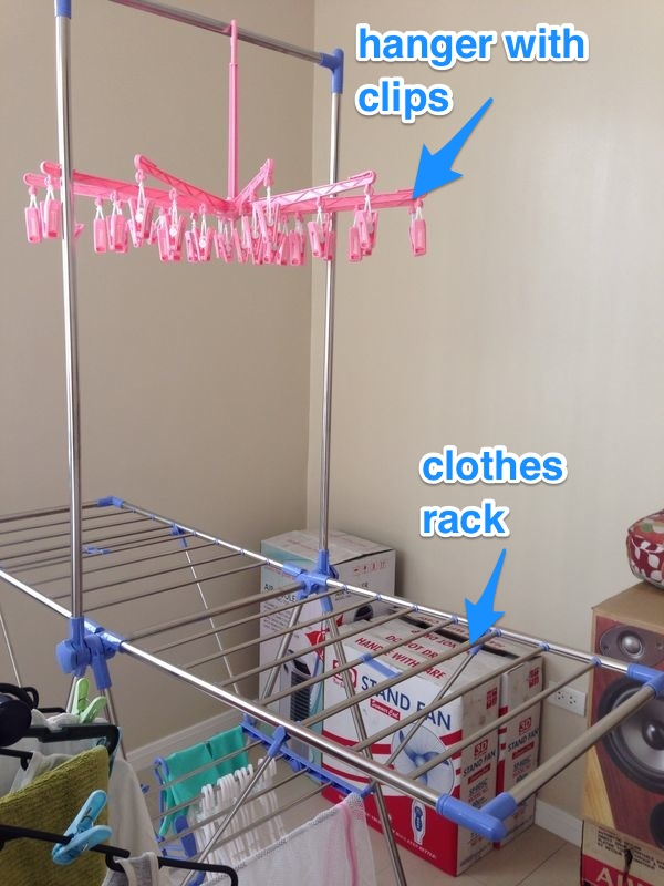 rack with hanger clips