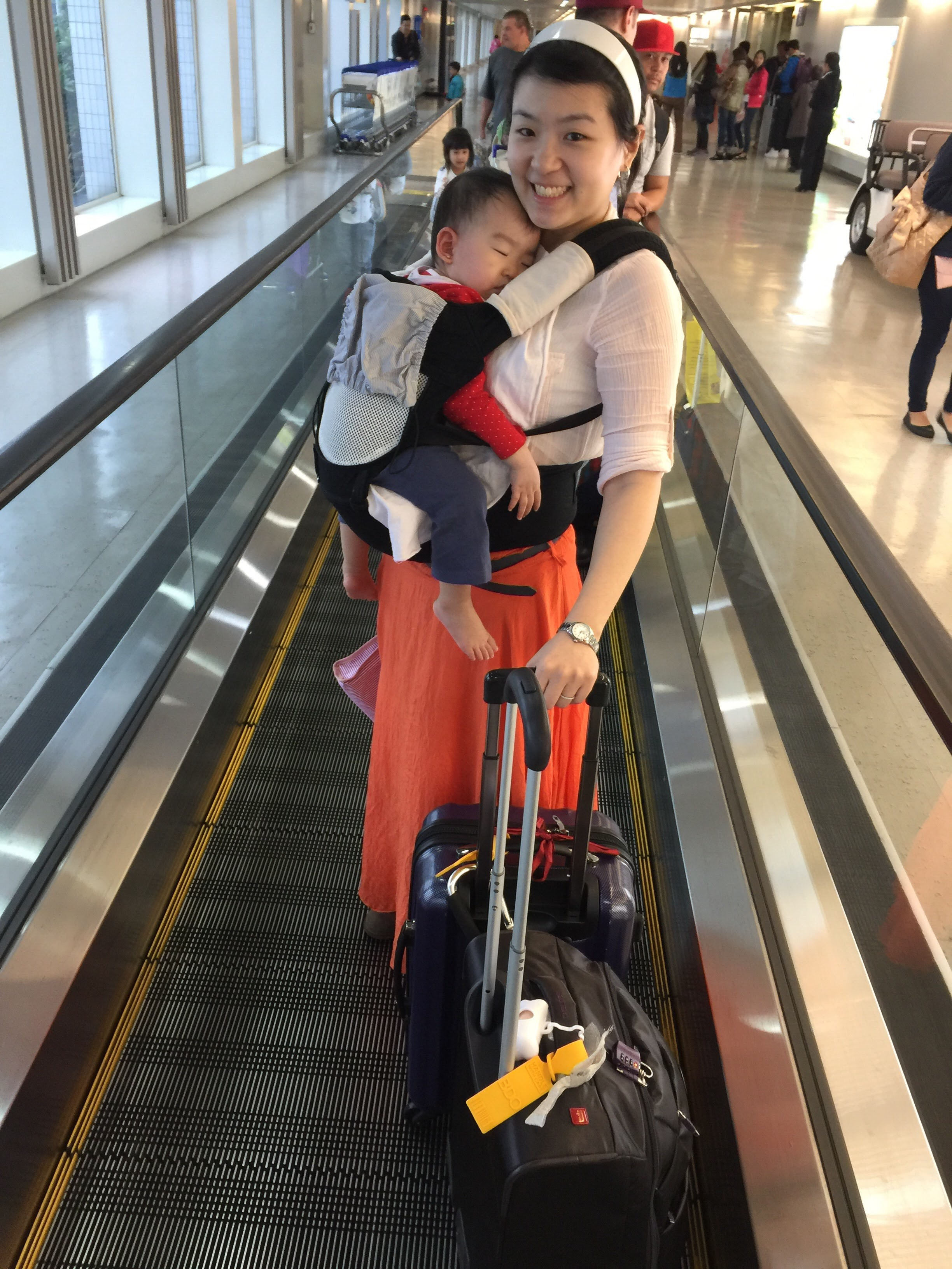 Baby carrying when traveling is the best
